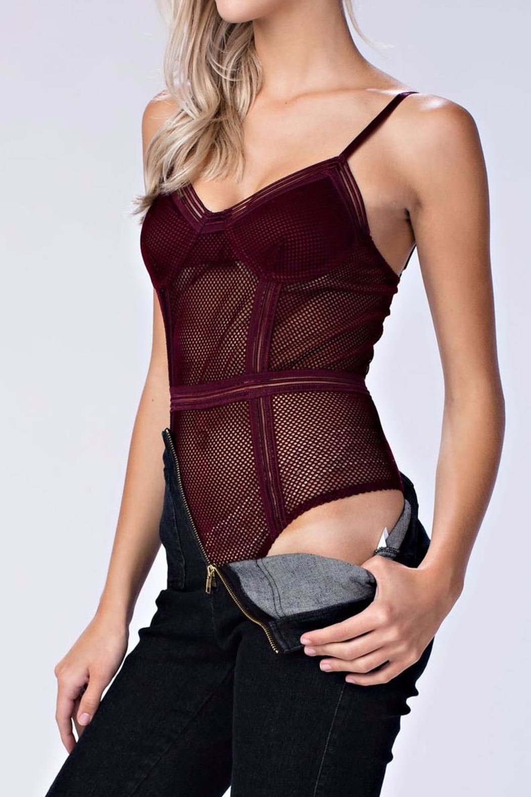 Honey Punch Sheer Mesh Bodysuit - Main Image