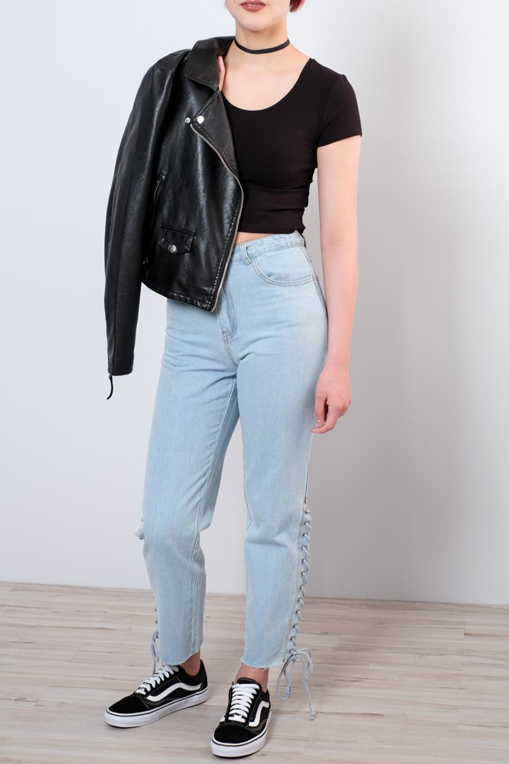 Honey Punch Side Lace Up Jeans - Main Image