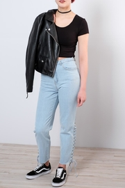 Honey Punch Side Lace Up Jeans - Front cropped