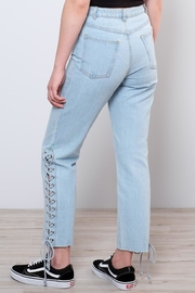 Honey Punch Side Lace Up Jeans - Back cropped