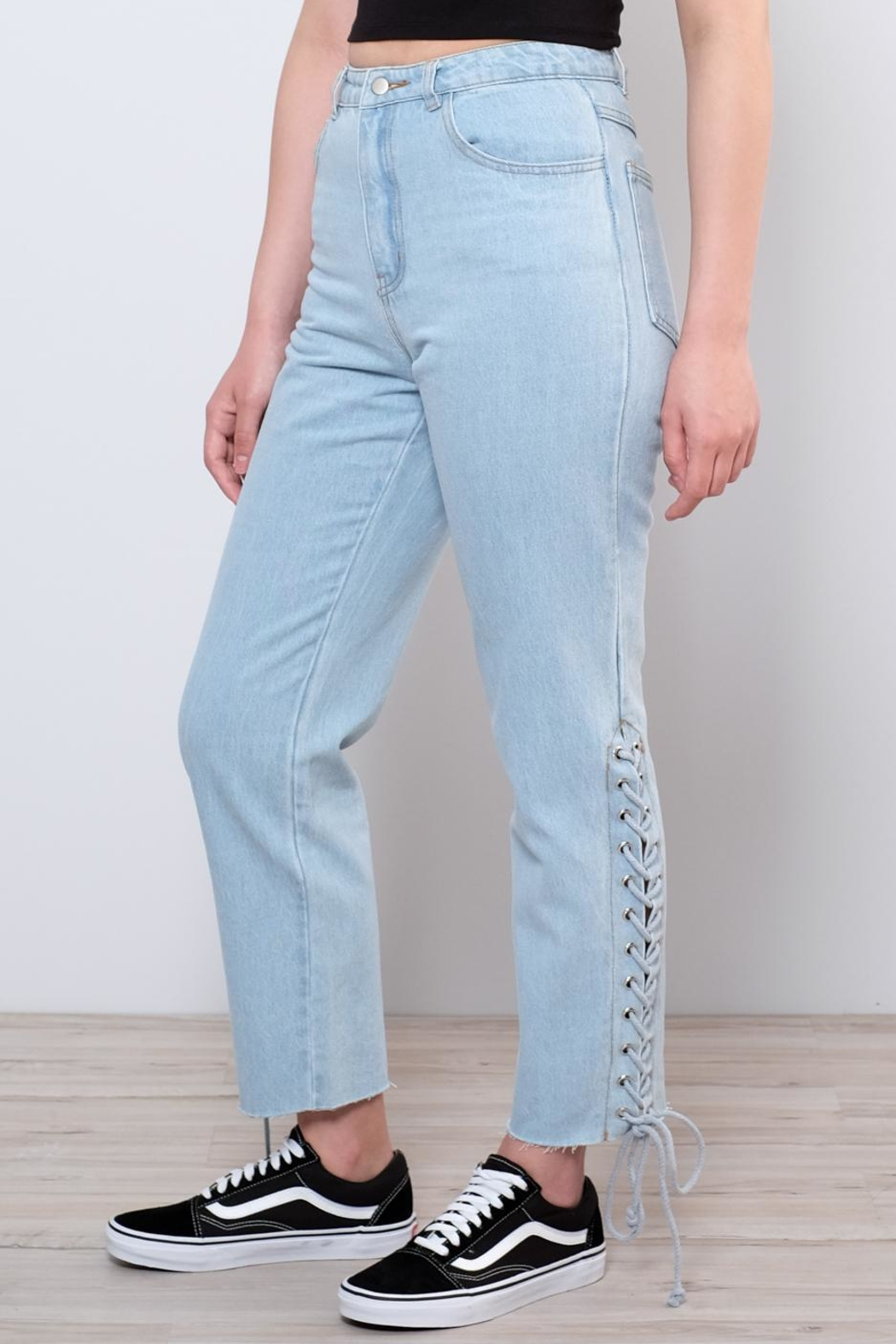 Honey Punch Side Lace Up Jeans - Front Full Image