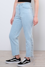 Honey Punch Side Lace Up Jeans - Front full body