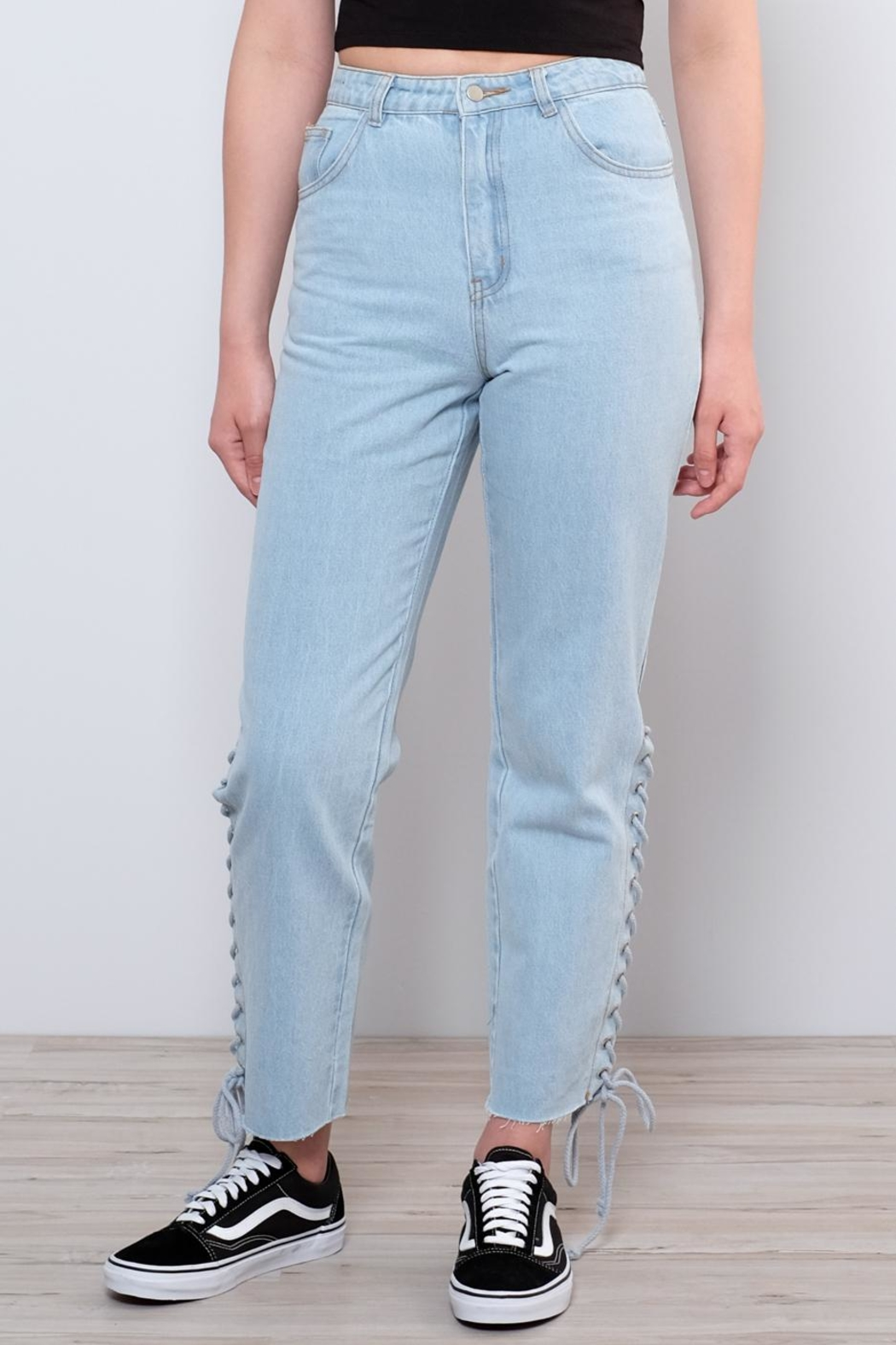 Honey Punch Side Lace Up Jeans - Side Cropped Image