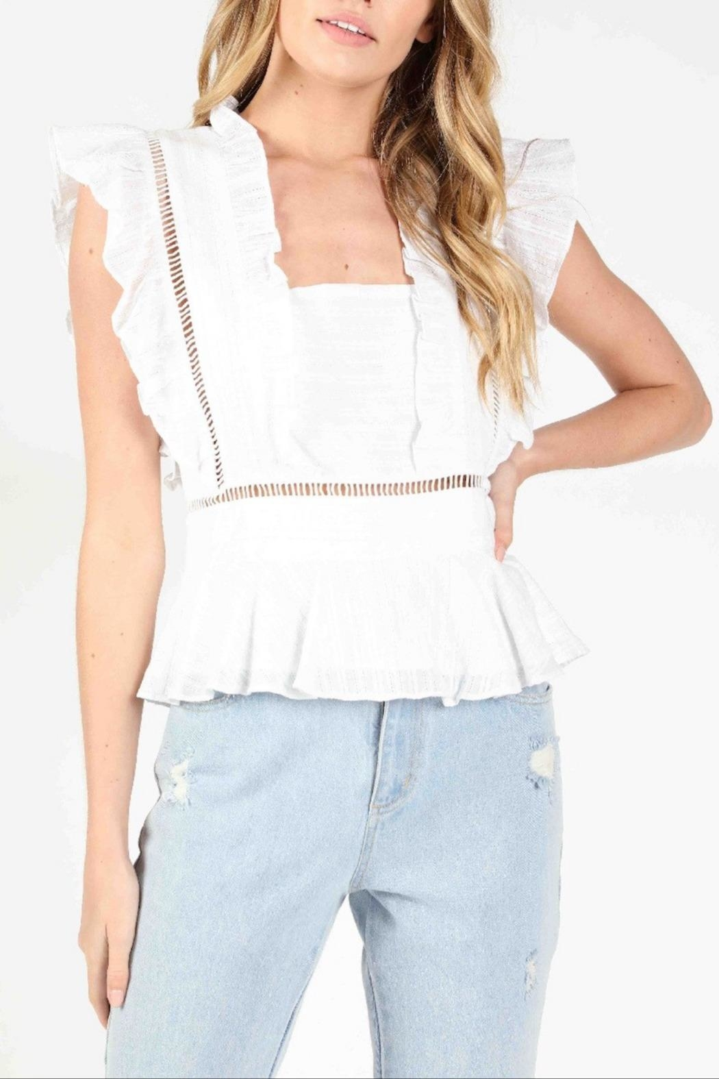 Honey Punch Socialite Ruffle Top - Front Cropped Image