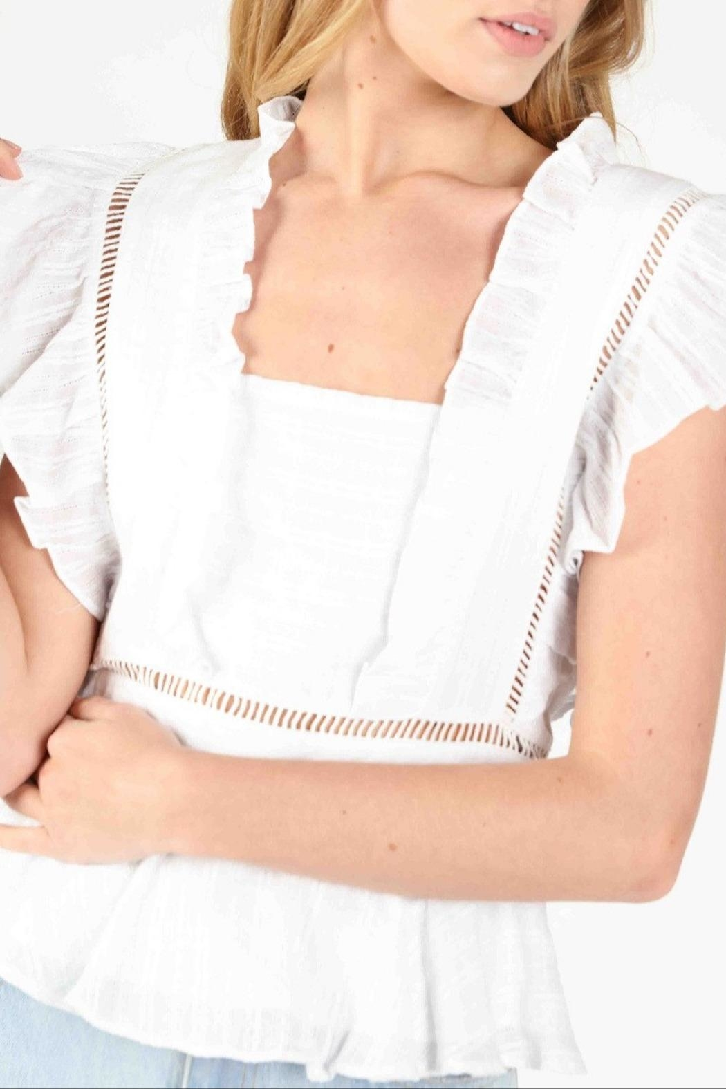 Honey Punch Socialite Ruffle Top - Back Cropped Image