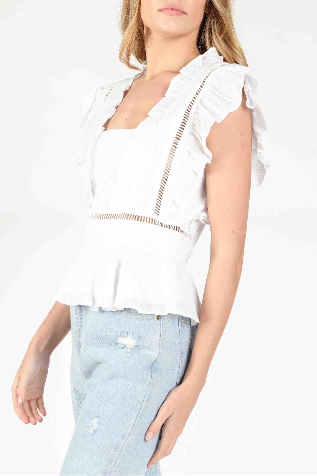 Honey Punch Socialite Ruffle Top - Front Full Image