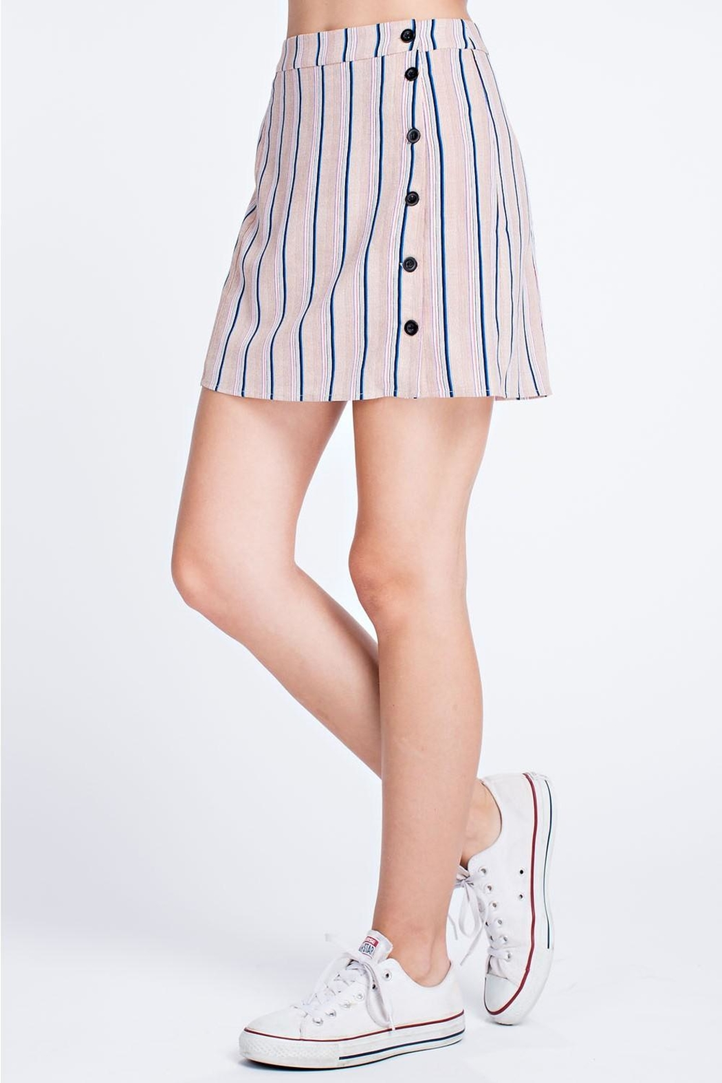 Honey Punch Stripe Button Skirt - Side Cropped Image