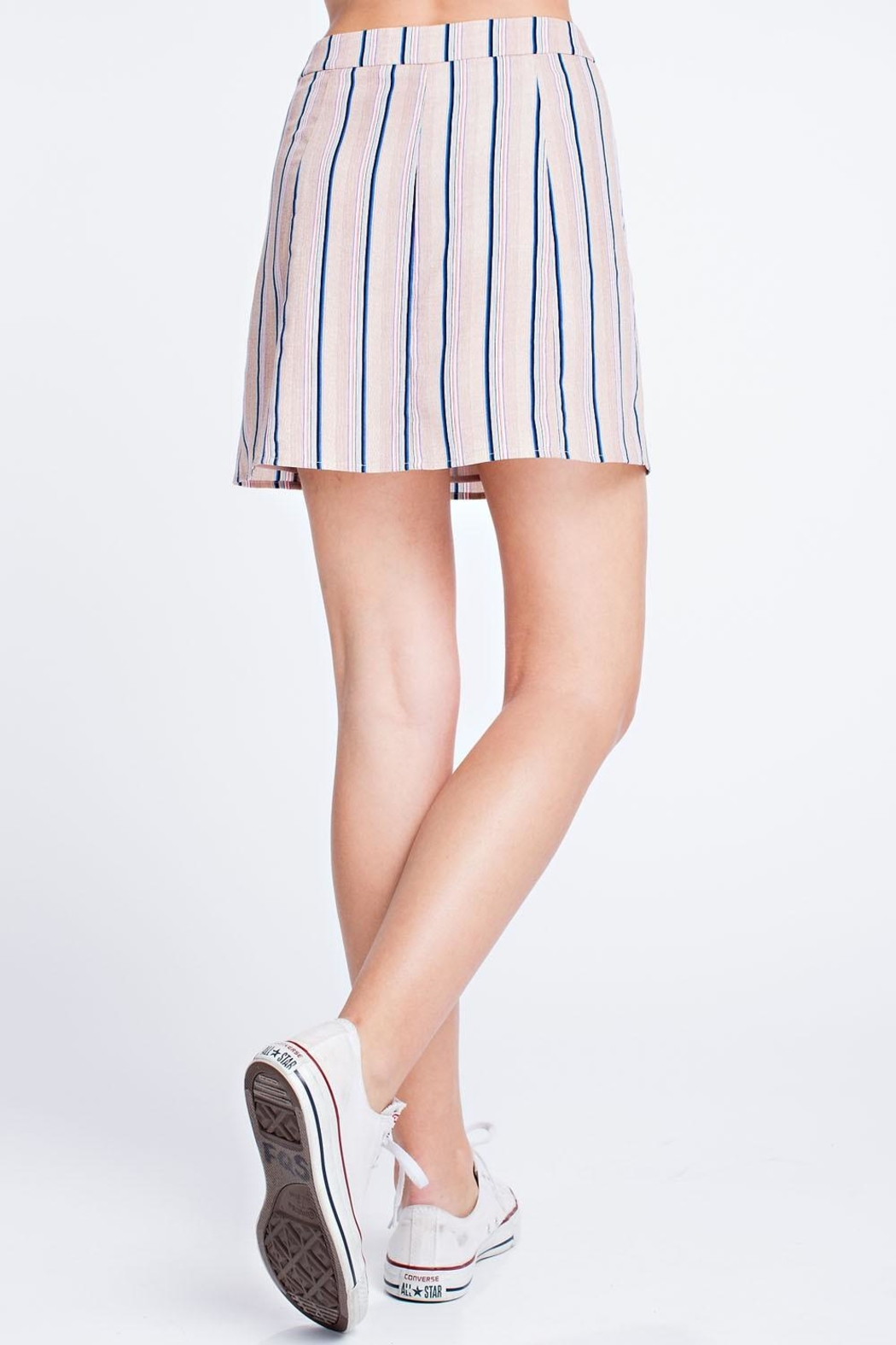 Honey Punch Stripe Button Skirt - Back Cropped Image