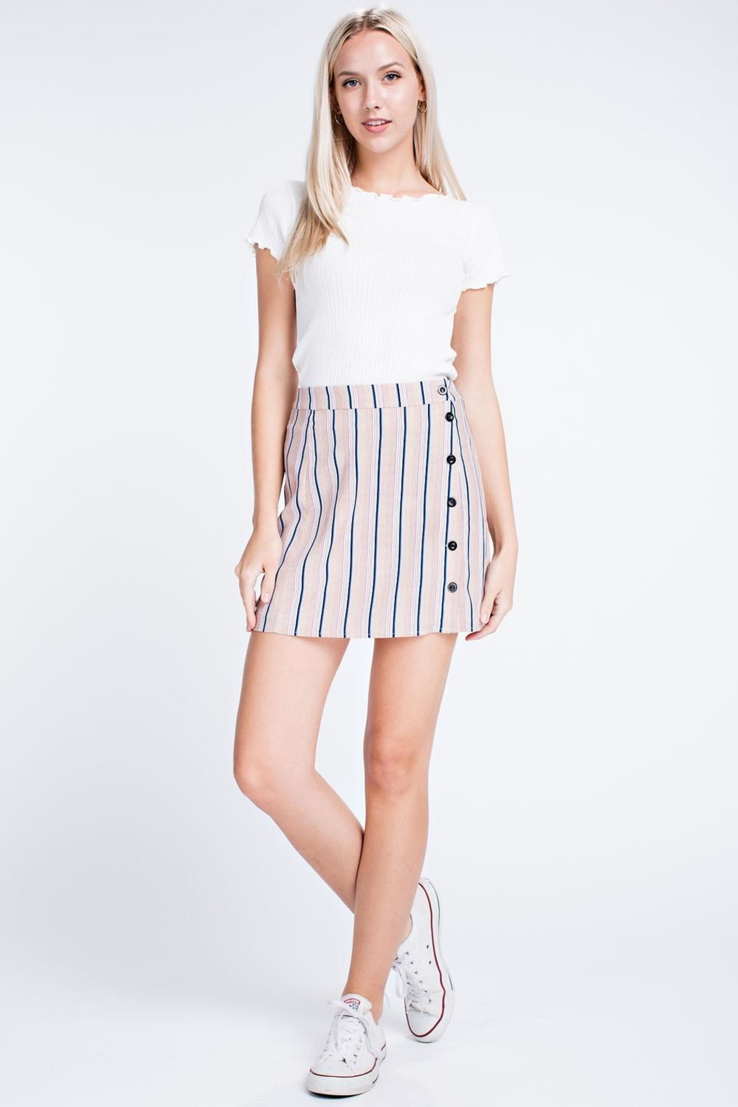 Honey Punch Stripe Button Skirt - Main Image