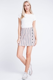 Honey Punch Stripe Button Skirt - Product Mini Image