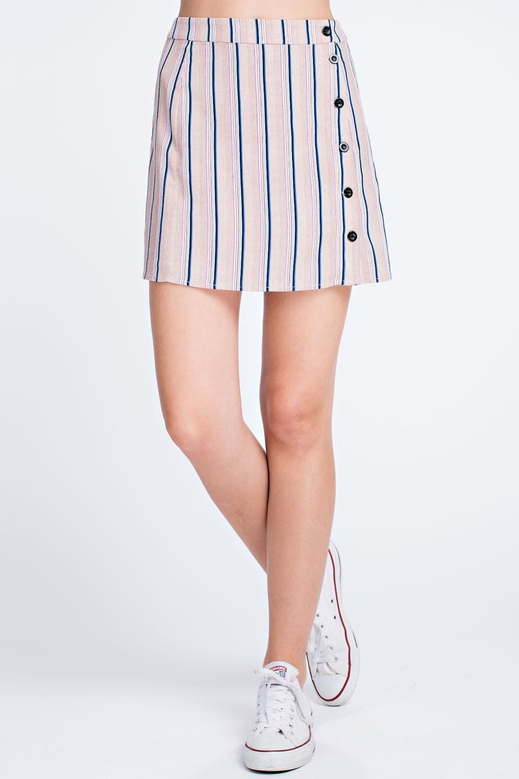 Honey Punch Stripe Button Skirt - Front Full Image