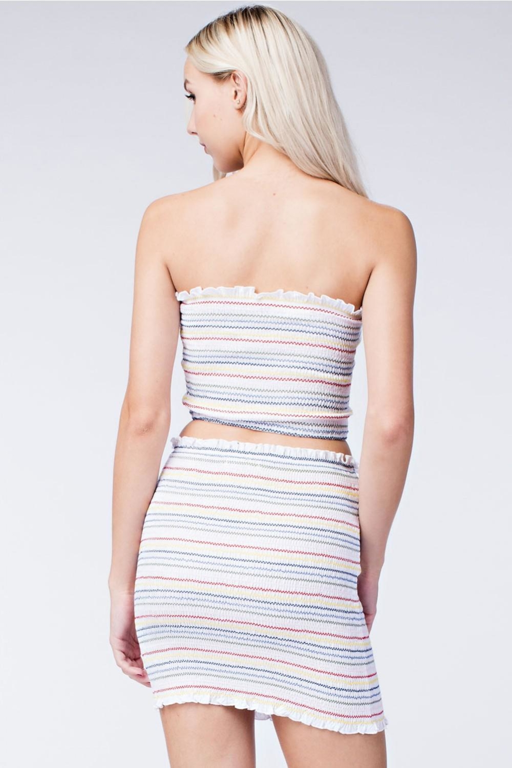 Honey Punch Stripe Crop Top - Back Cropped Image