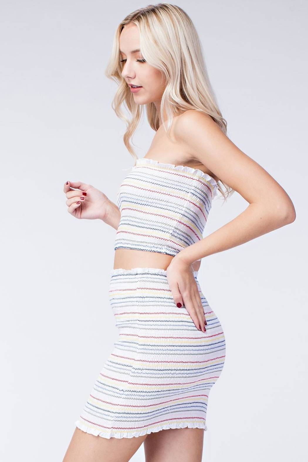 Honey Punch Stripe Crop Top - Side Cropped Image