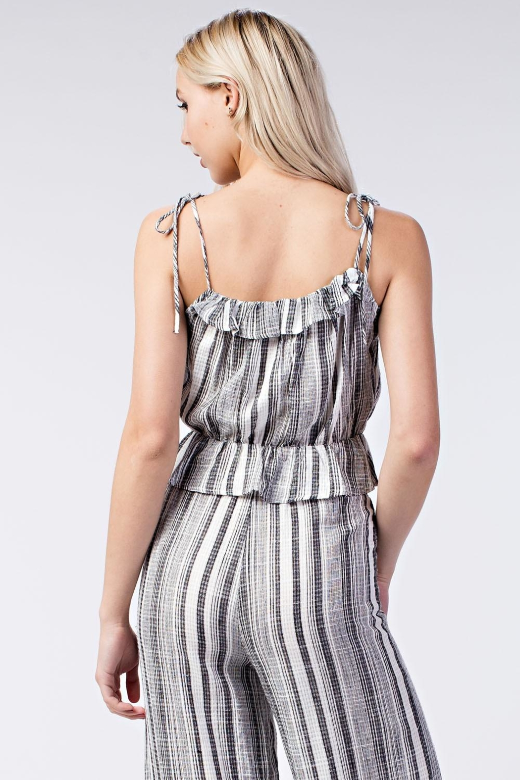 Honey Punch Stripe Ruffle Top - Back Cropped Image