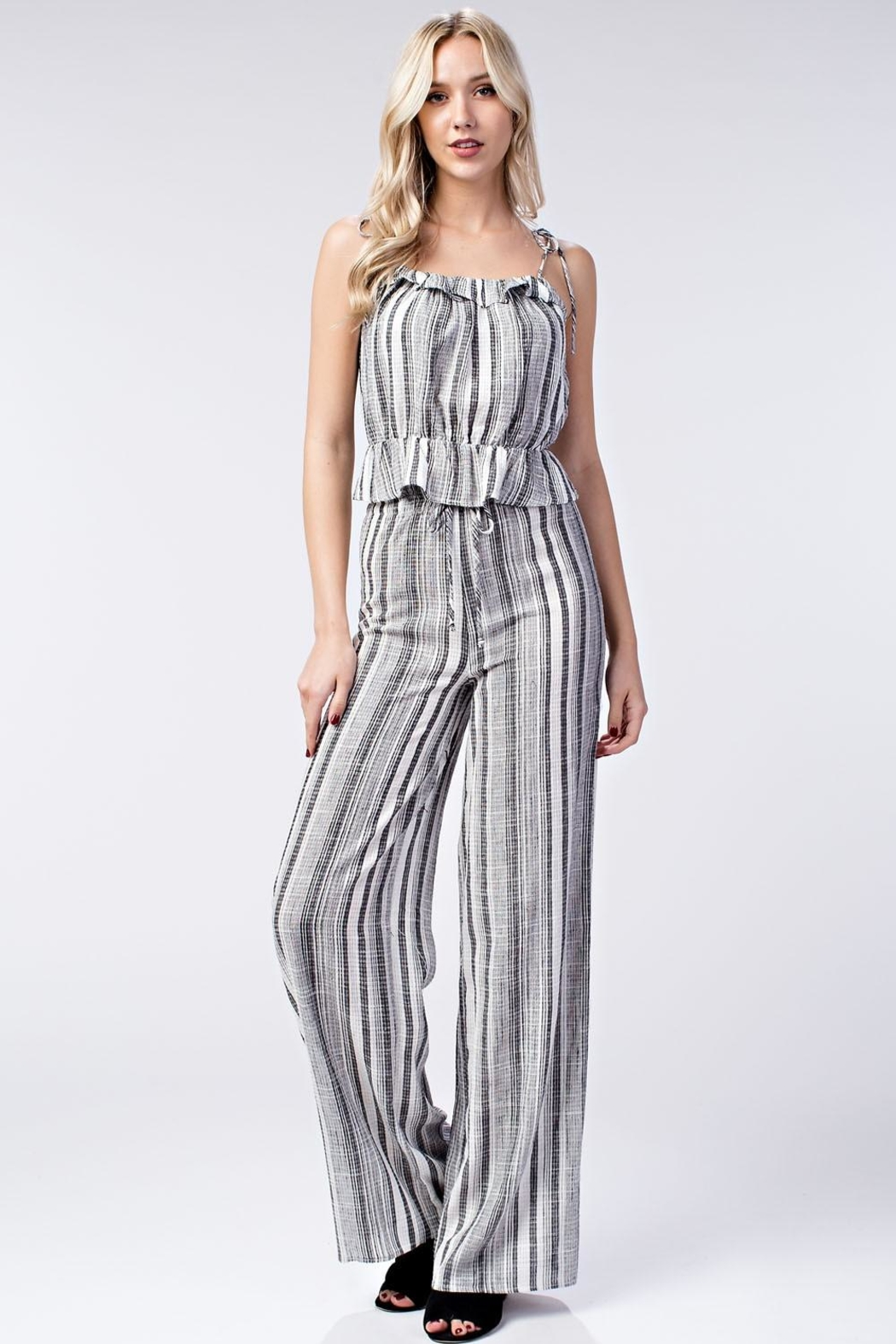 Honey Punch Stripe Ruffle Top - Front Full Image