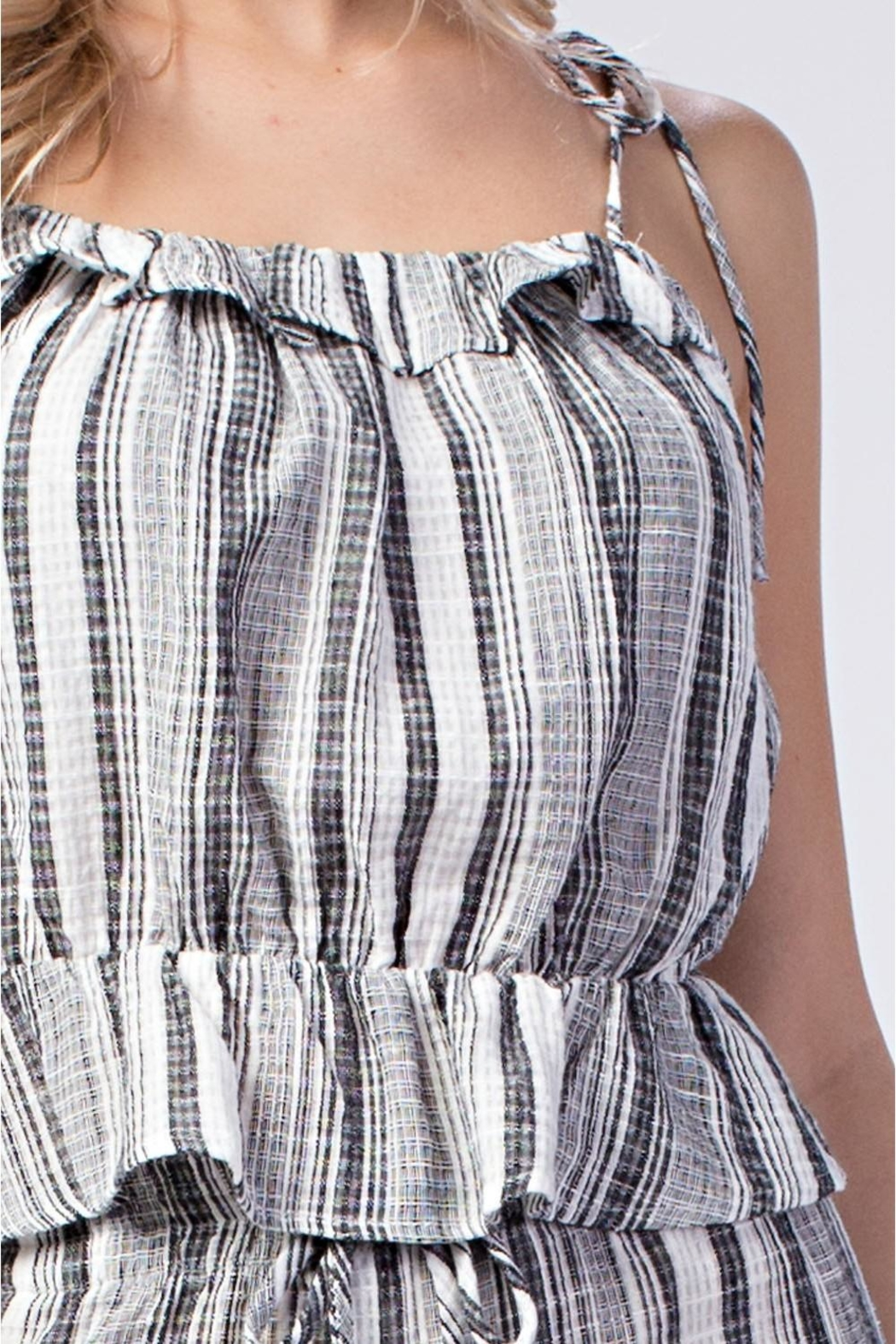 Honey Punch Stripe Ruffle Top - Side Cropped Image