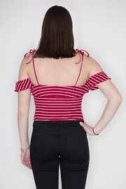 Honey Punch Striped Ribbed Bodysuit - Side cropped
