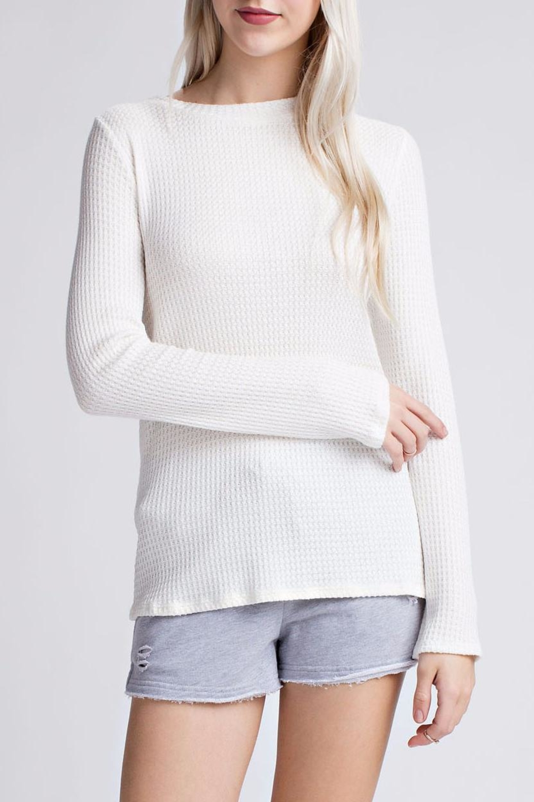 Honey Punch Thermal Henley Top - Main Image