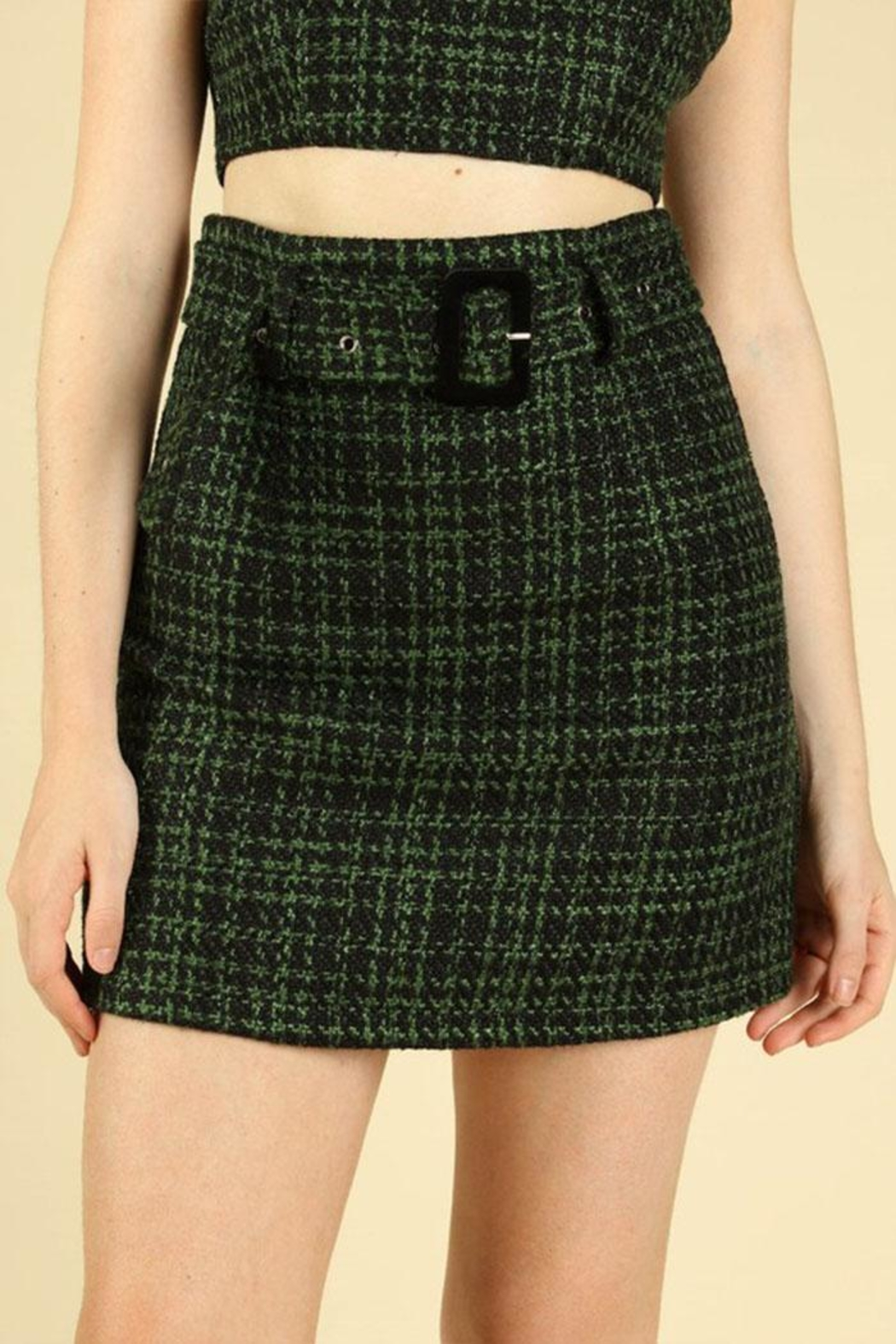 Honey Punch Tweed Mini Skirt - Front Cropped Image