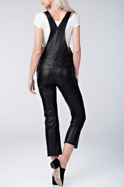 Honey Punch Vegan Leather Overalls - Back cropped