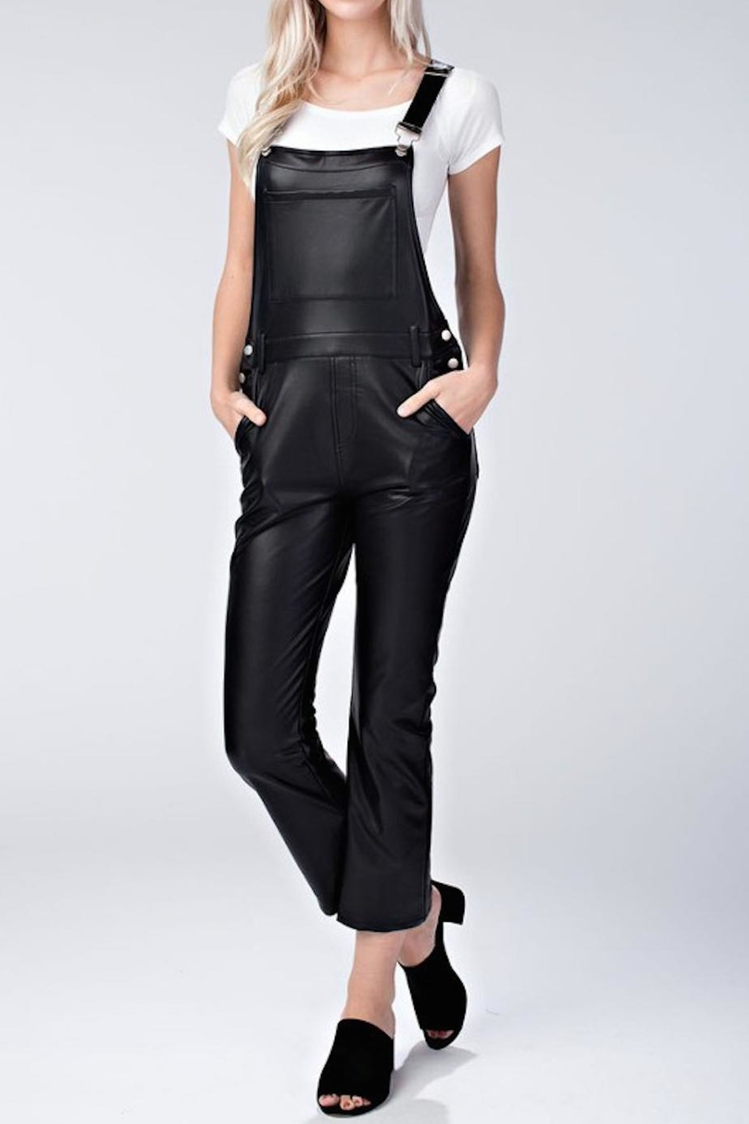 Honey Punch Vegan Leather Overalls - Front Cropped Image