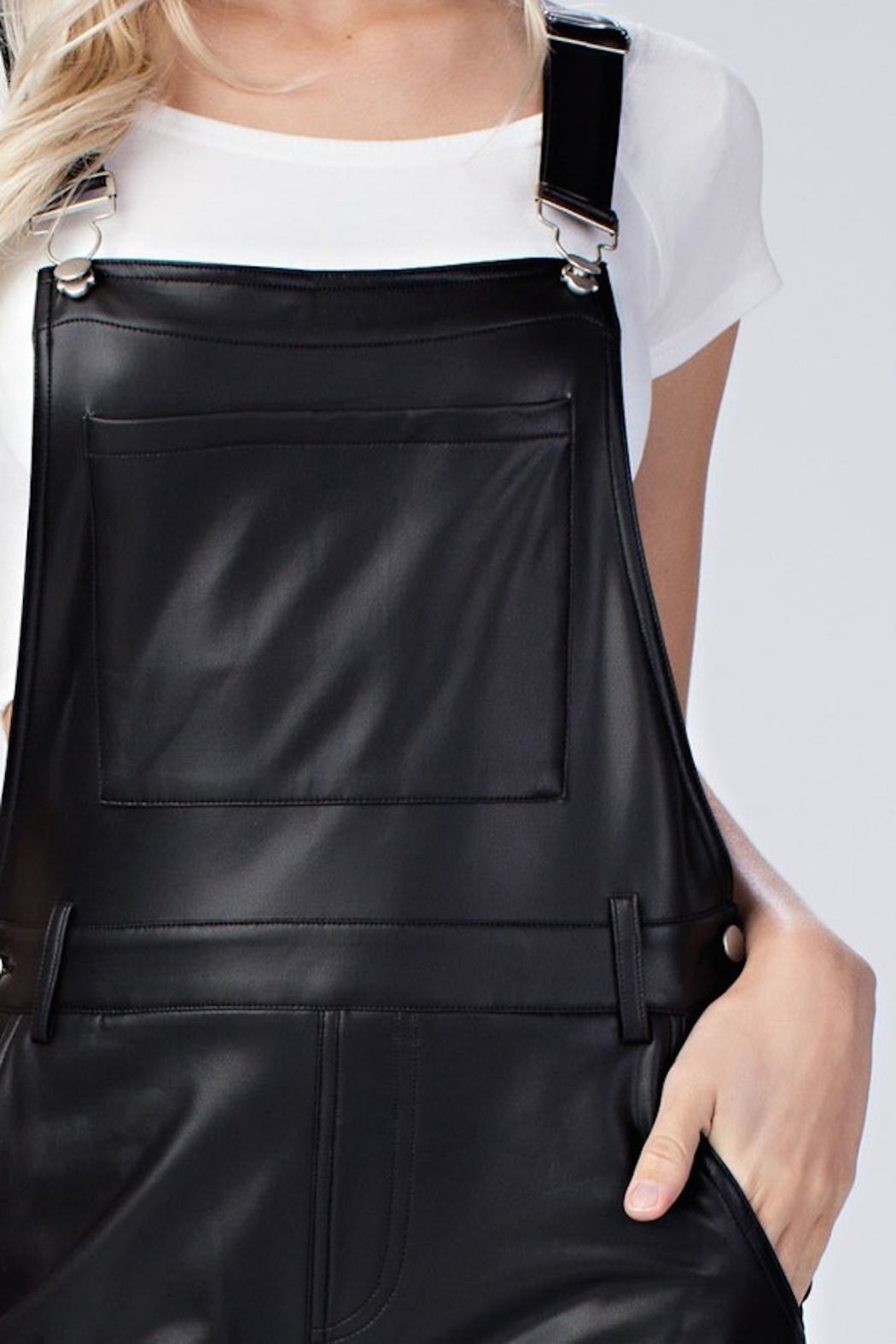 Honey Punch Vegan Leather Overalls - Front Full Image
