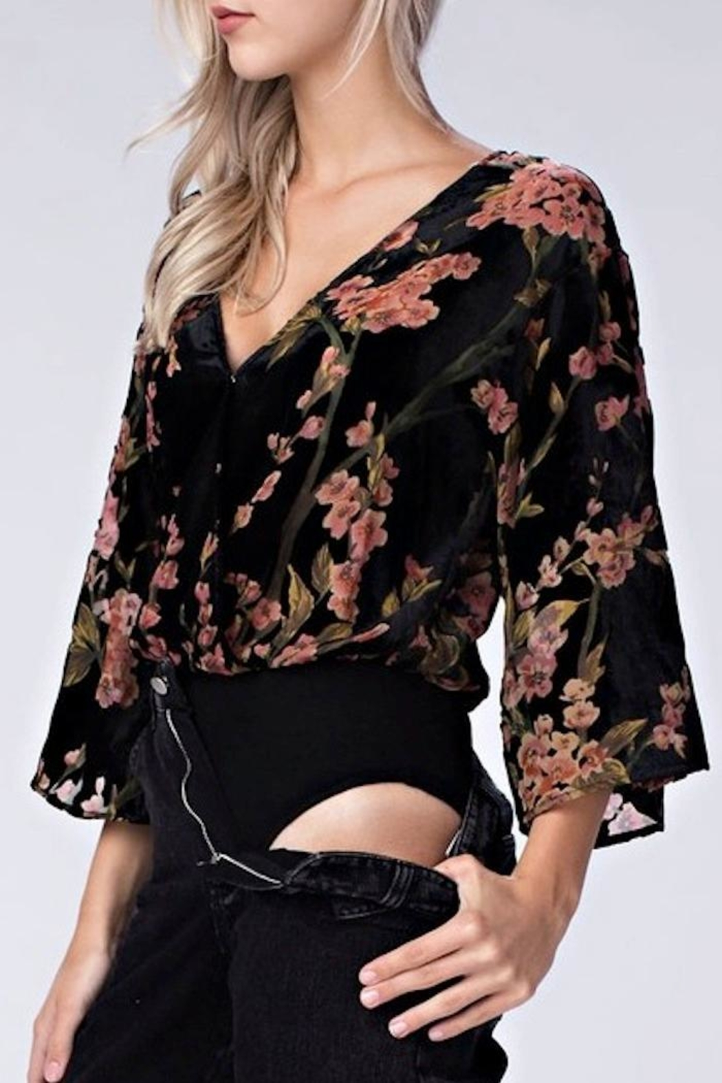 32a669d261 Honey Punch Velvet Floral Bodysuit from Louisiana by Yipsy Boutique ...