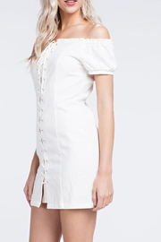 Honey Punch White Laceup Dress - Side cropped