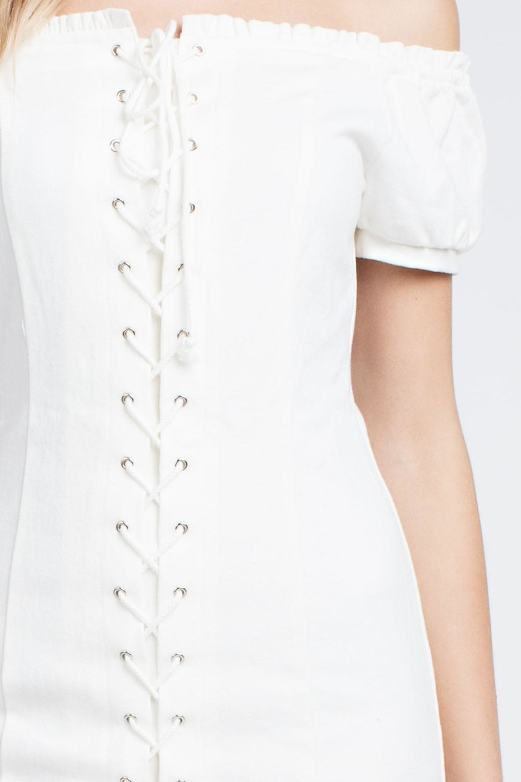 Honey Punch White Laceup Dress - Back Cropped Image