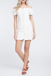 Honey Punch White Laceup Dress - Front cropped