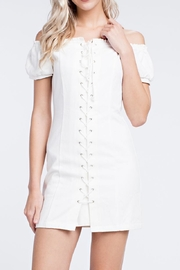 Honey Punch White Laceup Dress - Front full body