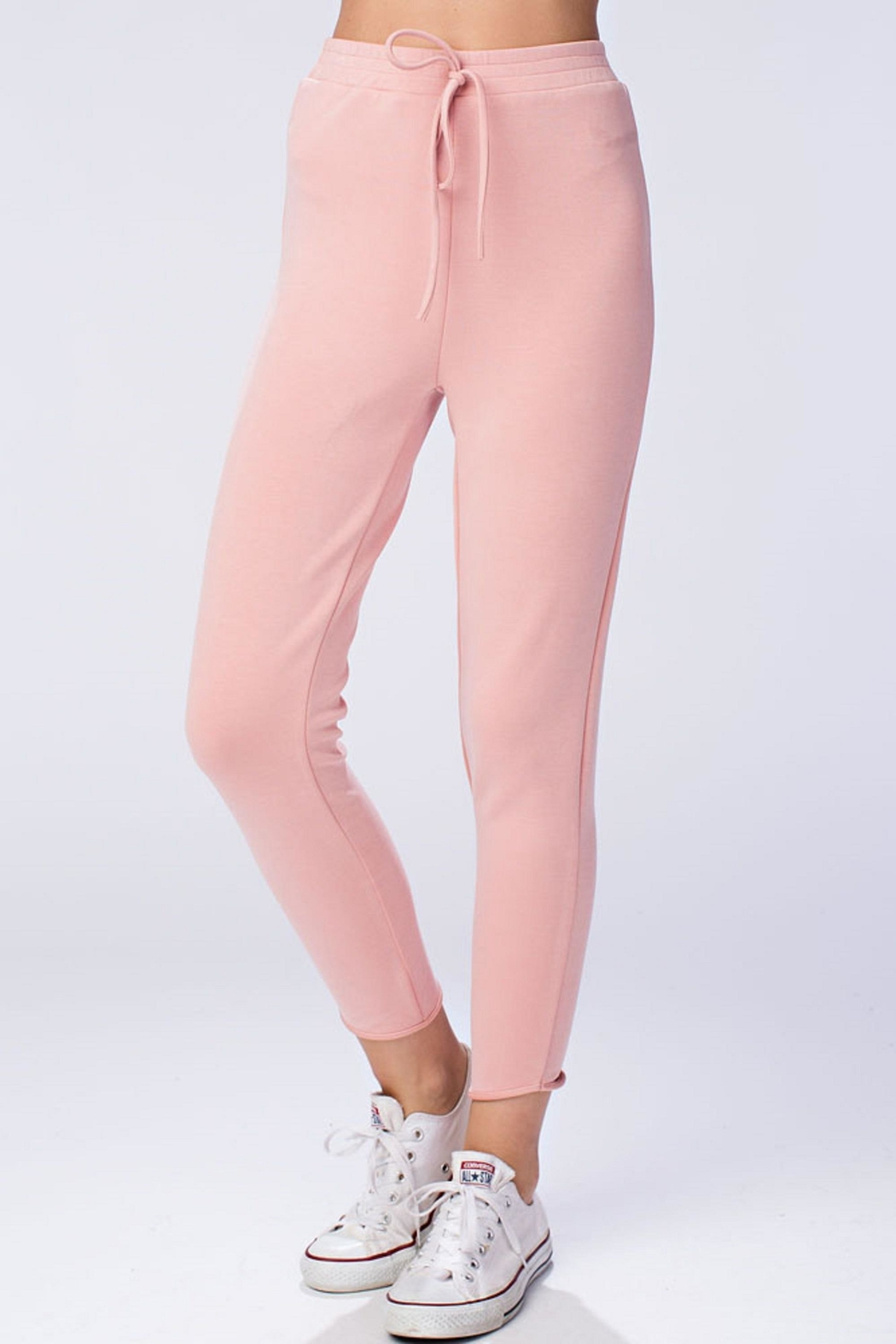 honeybelle Pink Drawstring Pants - Front Cropped Image