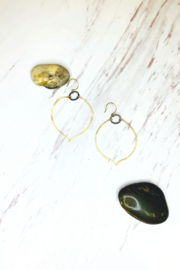 hila. Honeydew Mixed Hammered Metal Earrings - Front cropped