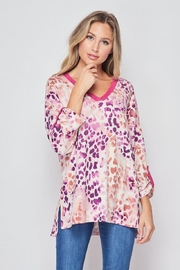 honeyme Animal-Print Rolled-Sleeve Top - Product Mini Image