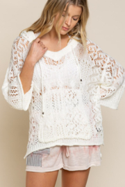 POL  Hooded Lightweight Open Weave Sweater - Product Mini Image