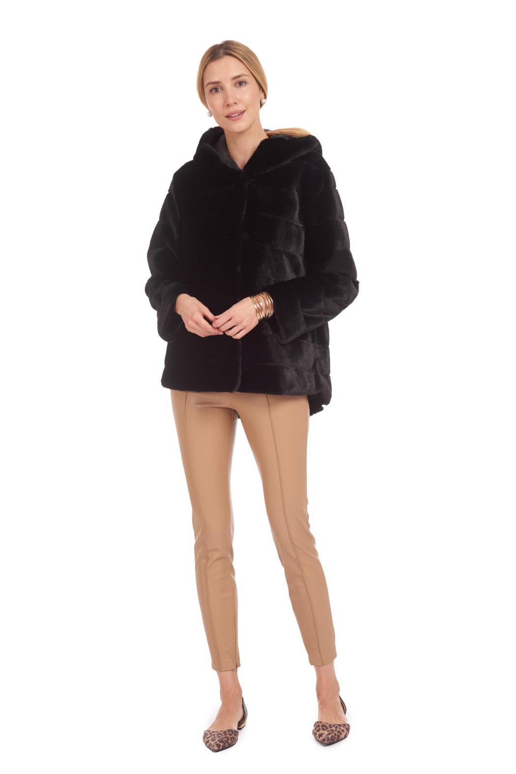 Patty Kim Hooded Lux Faux Fur Coat - Front Cropped Image