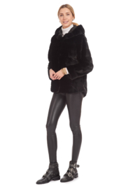 Patty Kim Hooded Lux Faux Fur Coat - Front full body