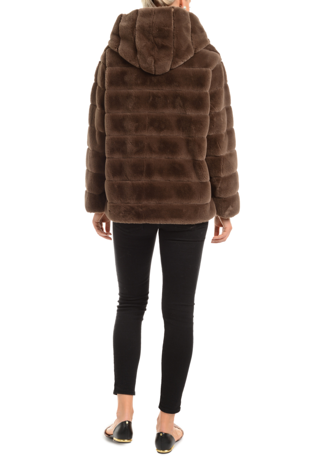 Patty Kim Hooded Lux Faux Fur Coat - Front Full Image