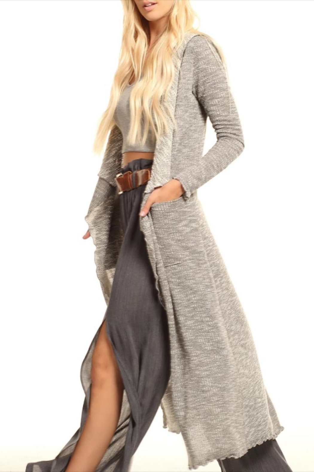 Lucy Love Hooded Maxi Sweater - Main Image
