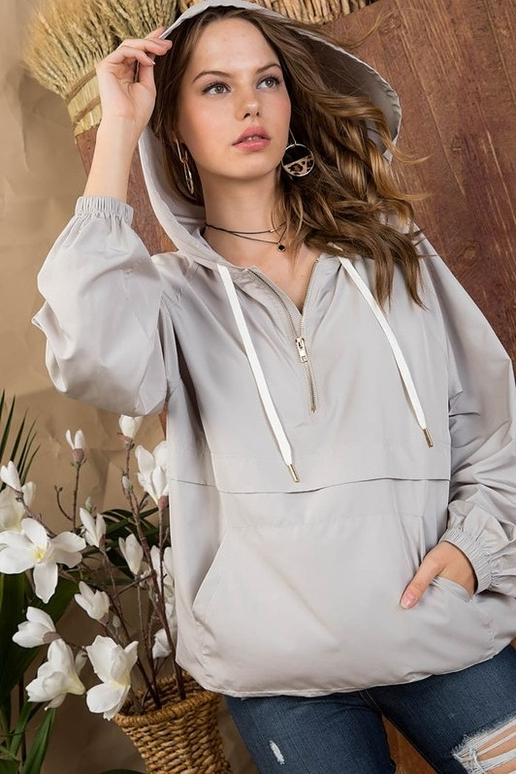 Main Strip Hooded Mesh Anorak - Side Cropped Image