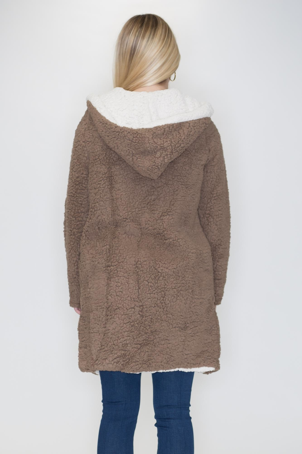 She + Sky Hooded Shearling Jacket - Side Cropped Image