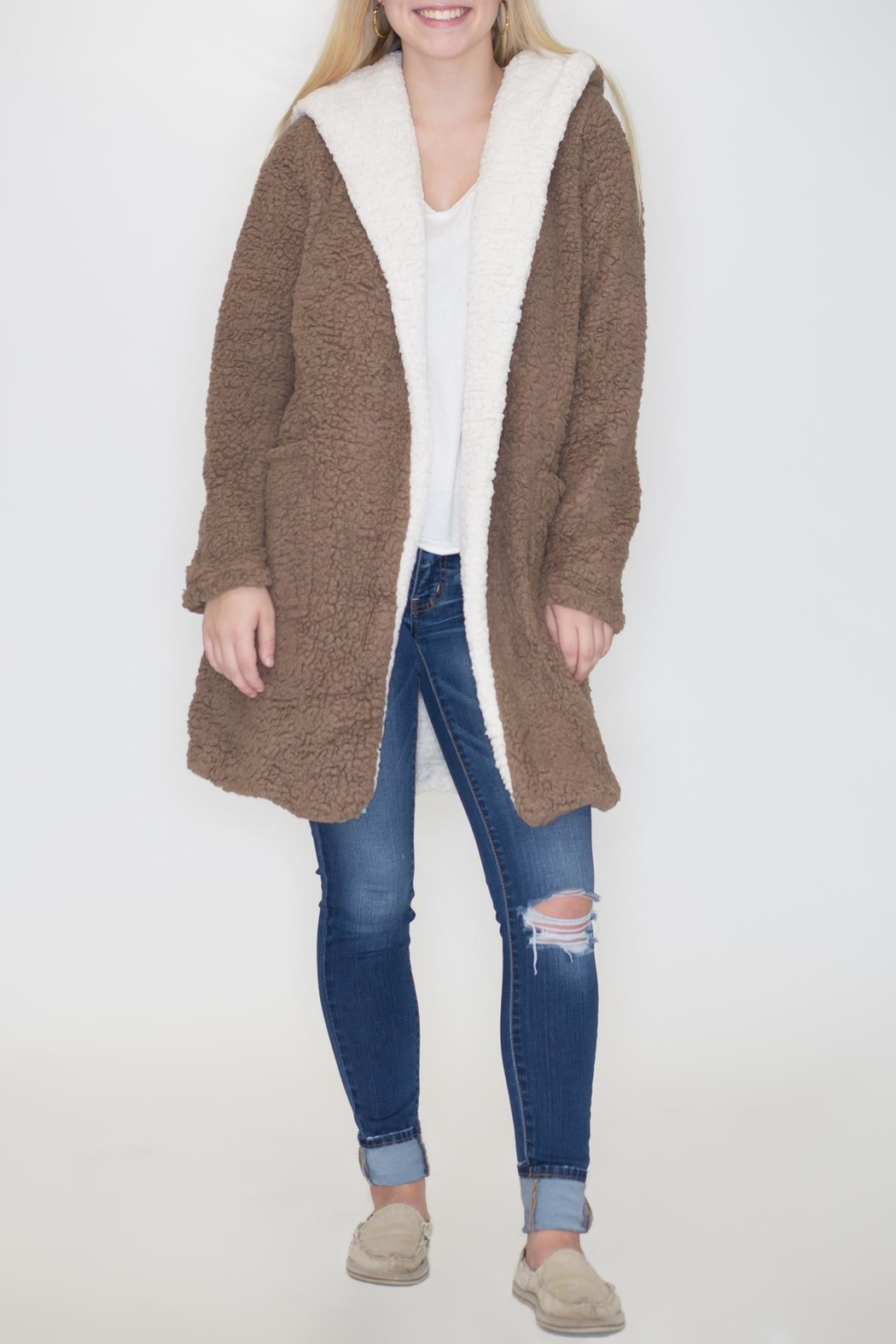 She + Sky Hooded Shearling Jacket - Front Cropped Image