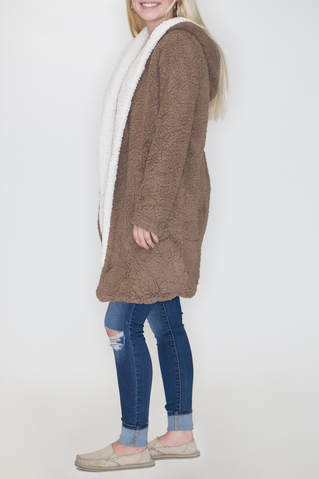 She + Sky Hooded Shearling Jacket - Front Full Image