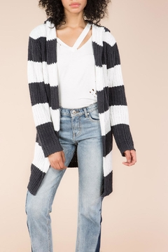 Shoptiques Product: Hooded Stripe Cardigan