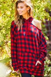 main strip  Hooded Tartan Top - Product Mini Image