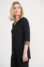 Joseph Ribkoff Hooded Tunic with Animal Print Trim - Product Mini Image