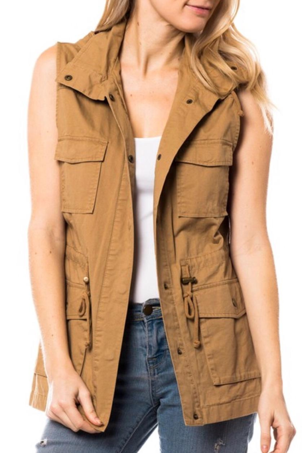 LuLu's Boutique Hooded Utility Vest - Main Image