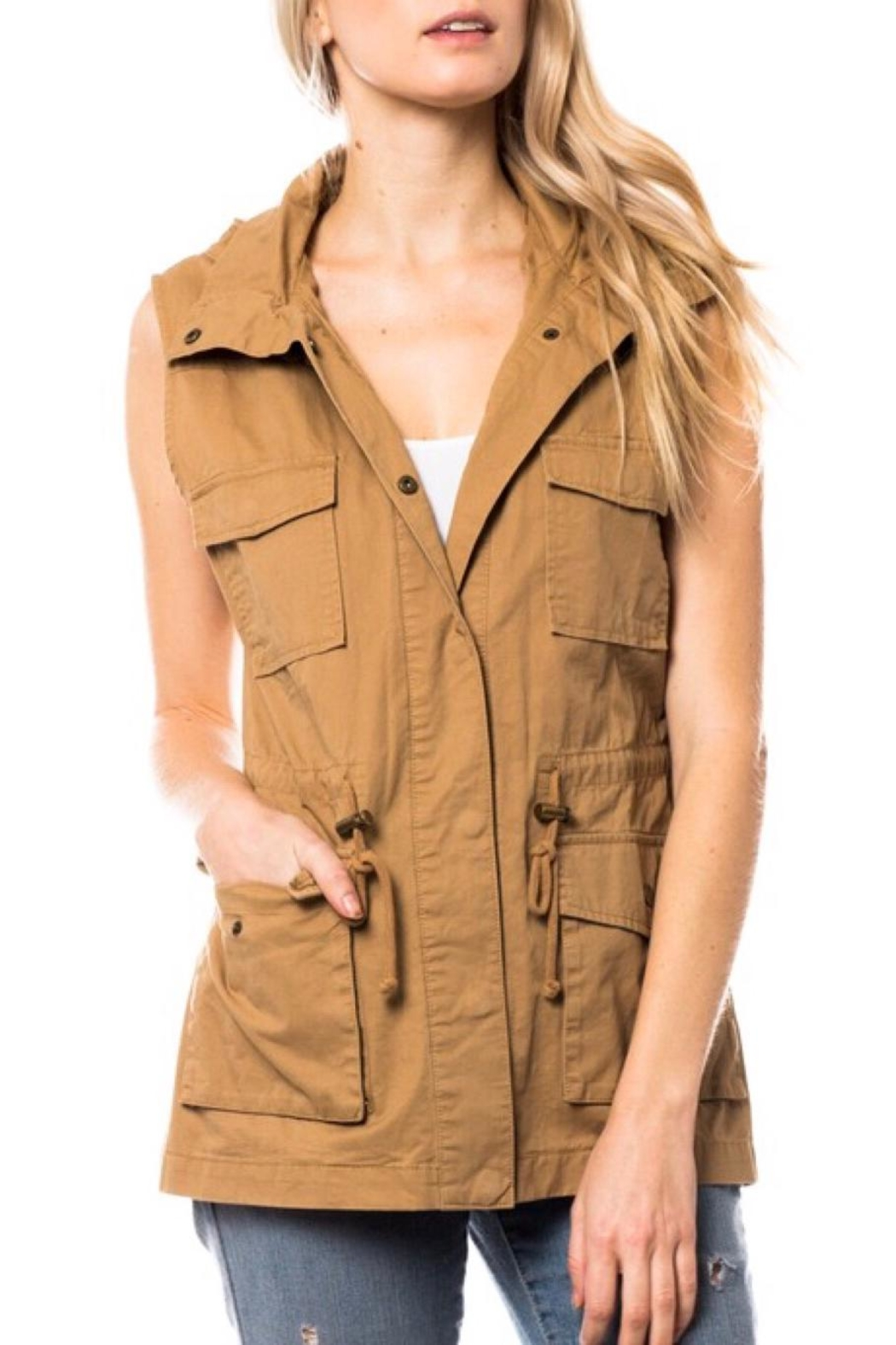 LuLu's Boutique Hooded Utility Vest - Front Full Image