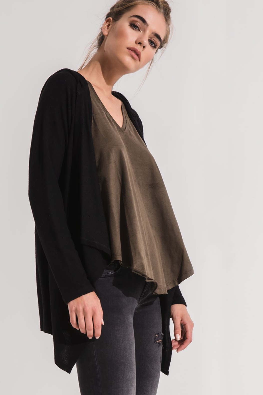 z supply Hooded Waterfall Cardi - Side Cropped Image