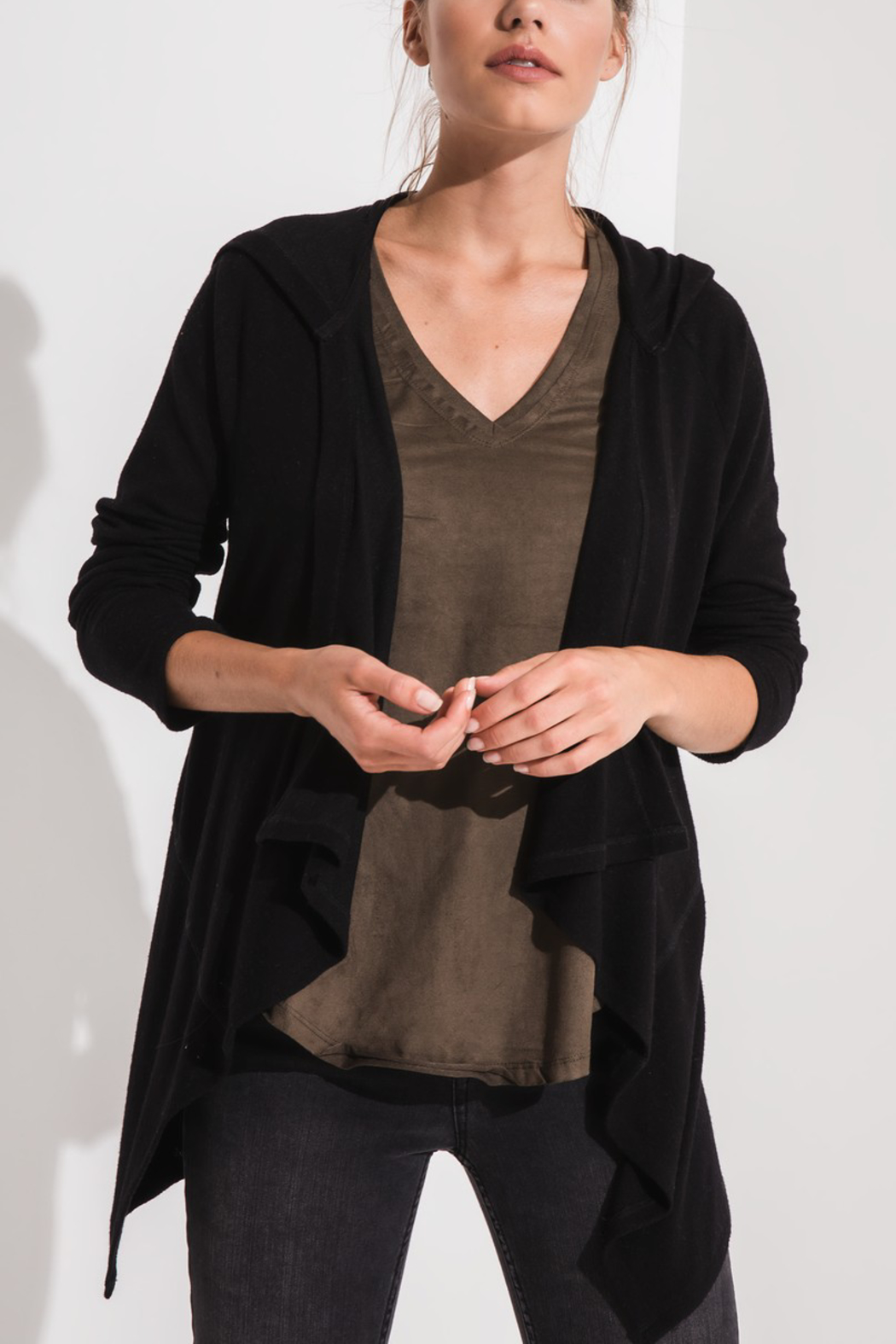 z supply Hooded Waterfall Cardi - Front Cropped Image